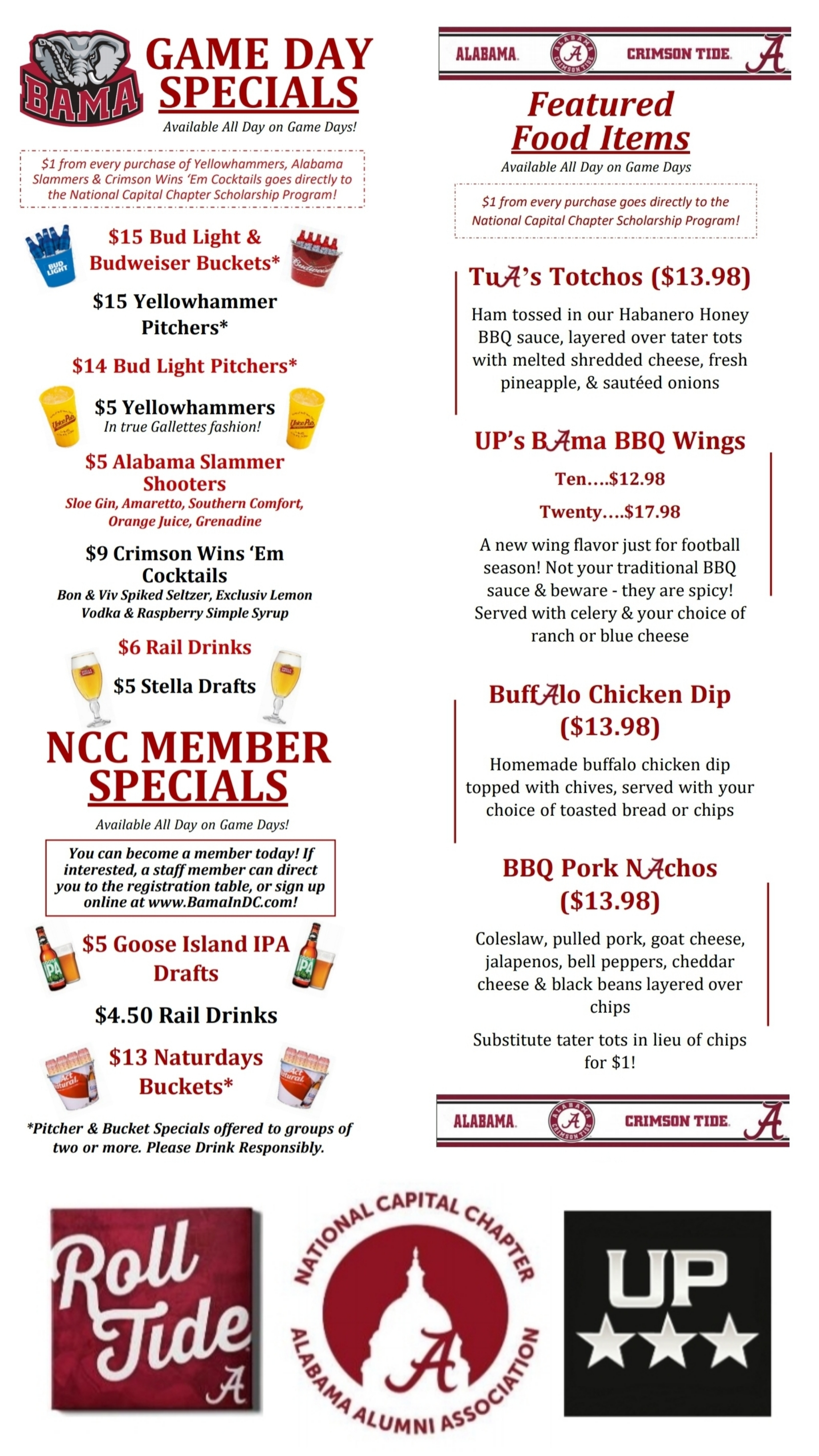 Bama Game Day Specials